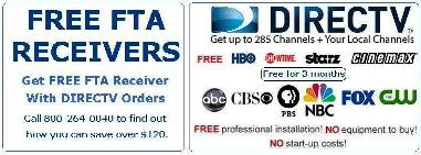 free FTA receivers with DirecTV new orders
