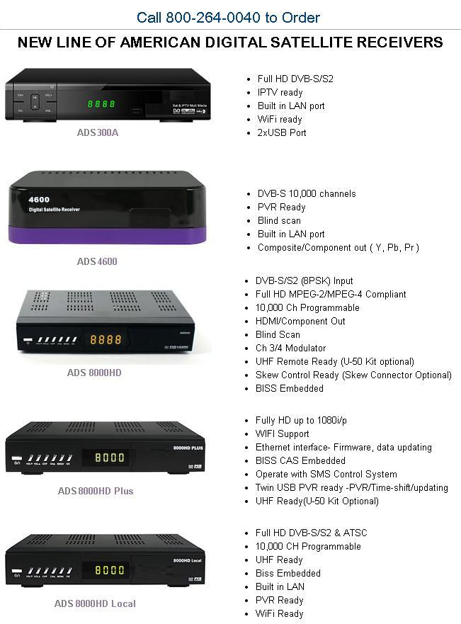 new line of American Digital Satellite Receivers for Free To Air and International TV Channels